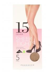 Womens 5pk 15 Denier Natural Tights Large