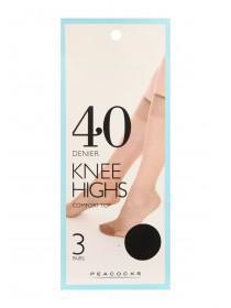 Womens 3pk 40 Denier Black Knee High Socks