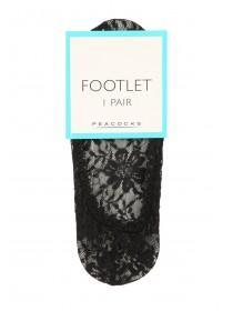 Womens 1pk Black Lace Footlet