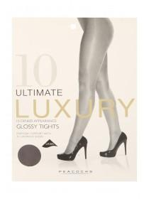Womens Black 10 Denier Luxury Glossy Tights Medium