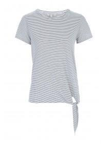 Womens Monochrome Stripe Tie Side T-Shirt