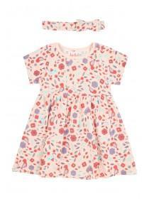 Baby Girls Pink Floral Dress and Headband Set