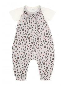 Baby Girls Grey Leopard Print Dungaree Set