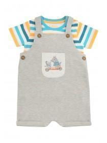 Baby Boys Grey Animal Dungaree Set