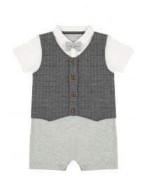 Baby Boys Grey Waistcoat Romper Set