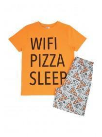 Older Boys Orange Slogan Pyjama Set