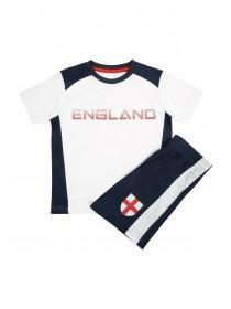 Younger Boys White England Top and Short Set