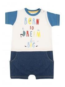 Baby Boys Blue Slogan Romper
