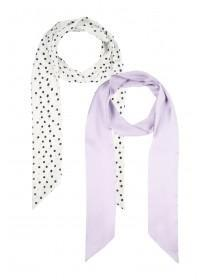 Womens 2pk Lilac and Spot Scarves