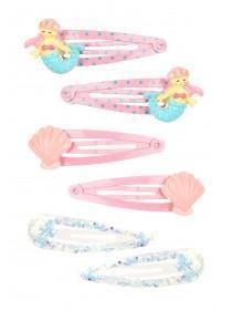 Girls 6pk Pink Mermaid Hairclips
