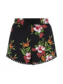 Womens Black Hibiscus Crochet Trim Shorts