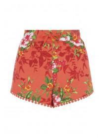 Womens Coral Hibiscus Crochet Trim Shorts