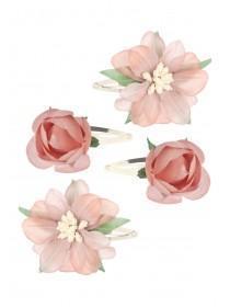 Girls 4pk Pink Rose Hairclips