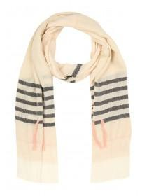 Womens Cream Stripe Scarf