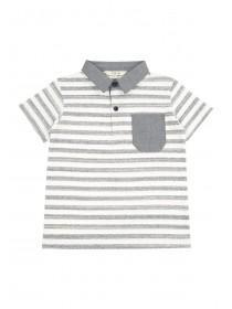 Younger Boys Grey Stripe Polo Shirt