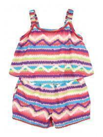 Younger Girls Multicolour Pom Playsuit