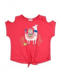 Younger Girls Pink Llama T-Shirt