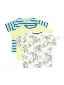 Younger Boys 3pk Blue Beach T-Shirts