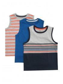 Younger Boys 3pk Stripe Vests