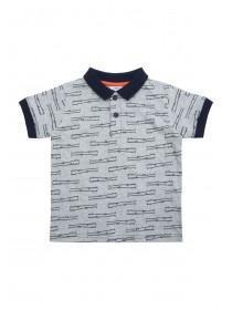 Younger Boys Blue Alligator Print Polo Shirt