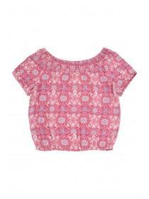 Older Girls Pink Tile Print Bardot Top