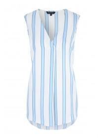 Womens Light Blue Stripe Sleeveless Top