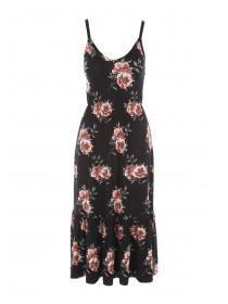Womens Black Floral Frill Hem Dress