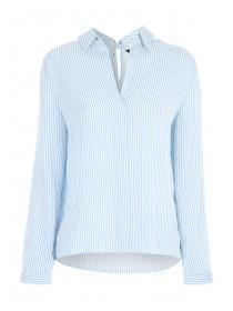 Womens Blue Stripe Tie Back Top