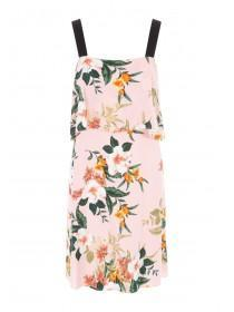 Womens Pale Pink Floral Layered Dress