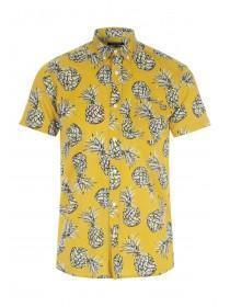 Mens Yellow Pineapple Print Shirt
