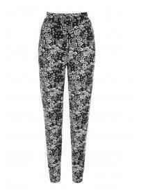 Womens Monochrome Floral Print Trousers