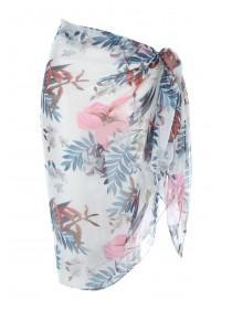 Womens Cream Floral Beach Scarf Cover Up