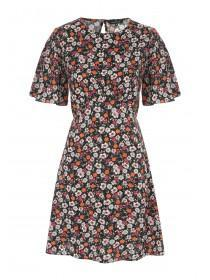 Womens Black Frill Sleeve Floral Dress