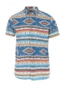 Mens Blue Aztec Print Shirt