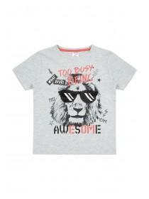 Younger Boys Grey Flip Sequin Lion T-Shirt
