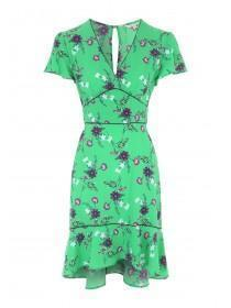 Womens Green Floral Tea Dress