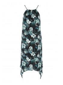 Womens Blue Tropical Hanky Hem Dress