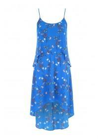 Womens Blue Floral Double Layer Dress