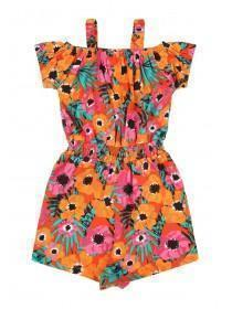 Younger Girls Orange Floral Playsuit