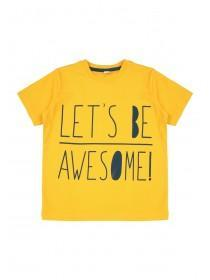 Younger Boys Yellow Slogan T-Shirt