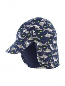 Younger Boys Navy Shark Cap