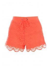 Womens Coral Crochet Shorts