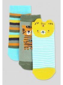 Baby Boys 3pk Animal Socks