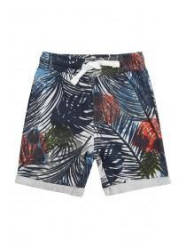 Younger Boys Navy Tropical Print Shorts