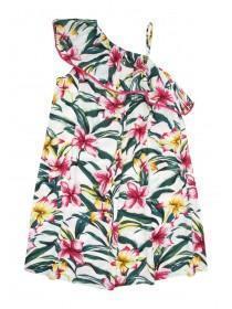 Older Girls White Tropical Print One Shoulder Dress