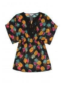 Older Girls Black Tropical Fruit Kaftan