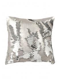 Womens Silver Sequin Flip Cushion