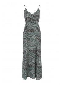 Womens Green Print Maxi Dress