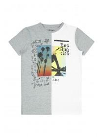 Older Boys Grey Spliced T-Shirt