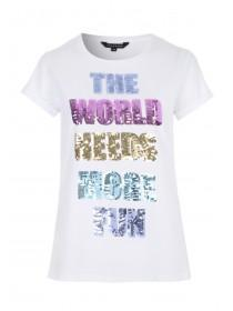 Womens White Sequin Slogan T-Shirt